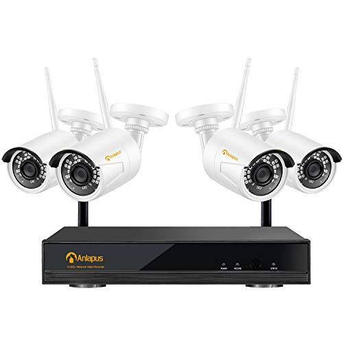Anlapus 8CH 1080P Full HD H.265+ Wireless NVR System mit 4 Outdoor 2MP Funk Überwachungskamera Set ohne Festplatte für Außen