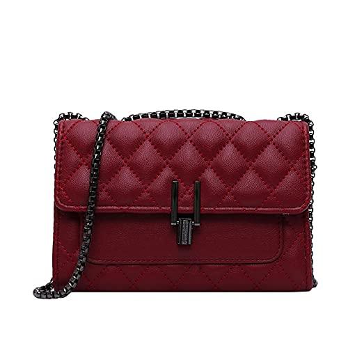 Bolso bandolera de cuero acolchado ligero para mujer, de moda, de moda, de cadena, bolso de hombro