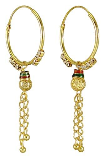 Banithani tradizionale indiano etnico Goldtone orecchino set donne gioielli di nozze, Lega, colore: Gold (Design#1), cod. BSE7071A