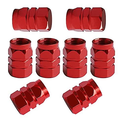 8 tapones rojos para el polvo, tapas de aluminio para válvula de neumático, tapas hexagonales de válvula de repuesto para coches, bicicletas, motocicletas