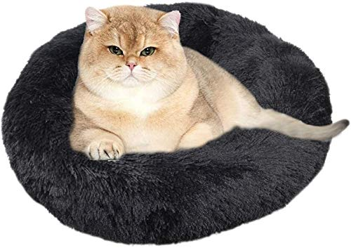 Waschbares Hunde-Rundbett, Hundedonut-Bett, Plüsch-Hunde-Beruhigungsbett - für kleine, große Hunde (Color : Black, Size : 40cm)