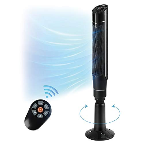 """AGLUCKY 59"""" Tower Fan with Oscillation, Remote Control and LED Display, 3 Powerful Wind Modes, Up to 24 H Timer Bladeless Standing Fan, Portable Fan for Children, Home, Dormitory or Office (Black)"""