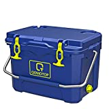 OT QOMOTOP 21 Quart Rotomolded Camping Cooler, Heavy-Duty Ice Chest, 30-Can Capacity, Keeps Ice Up to 4 Days, with Fish Ruler/Tie-Down Points/Bottle Holder, for Outdoor Activities