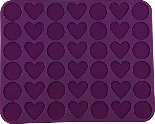 Dr. Oetker 1264 Paillet de Macaron Flexxibel Love Silicone 42 Coupes 36x29cm Violet, 36 x 29 x 5 cm