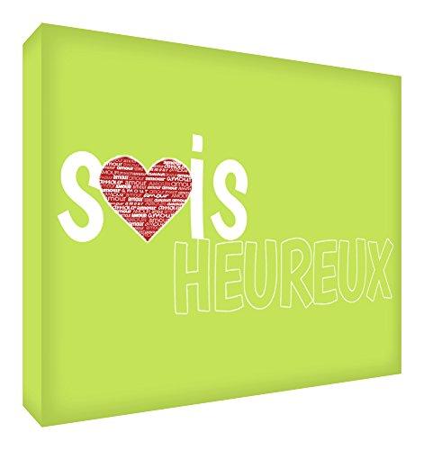 Feel Good Art Sois Heureux Bloc Décoratif en Acrylique Transparent Poli comme Diamant Vert Citron 10,5 x 7,4 x 2 cm