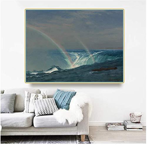 Albert Bierstadt? Home of The Rainbow,Horseshoe Falls,Niagara? Arte de la lona Pintura al óleo Obra de arte Decoración de la pared Decoración para el hogar -24x36 in Sin marco