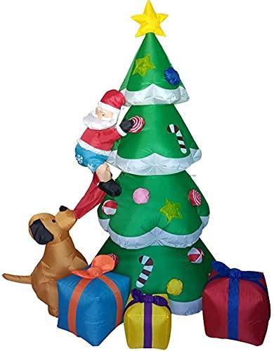 wsbdking Decoración de Navidad árbol de Navidad y 5 Paquetes con DIRIGIÓ Navidad Inflable 240 cm de Altura decoración estacional al Aire Libre Airblown Adorno de jardín Regalo