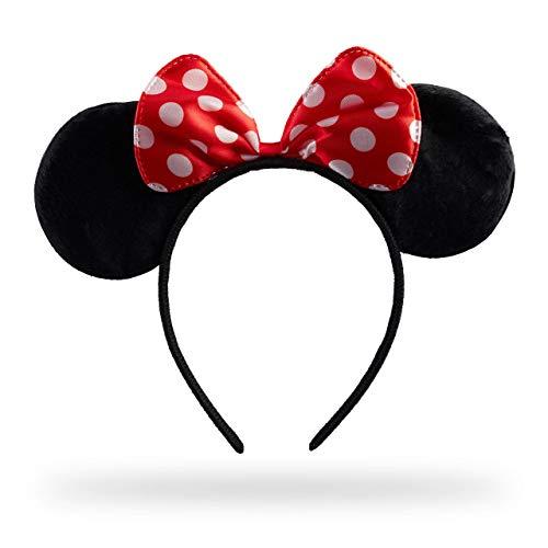Relaxdays Haarreif Maus, Mit Mäuseohren & Gepunkteter Schleife, Öhrchenhaarreif, Kopfschmuck Maus Kostüm, schwarz/rot