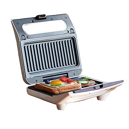 JHDUID Sandwichmaschine Waffeln Maschine Frühstücksmaschine Brotmaschine Elektrogrill Vielseitige Bratpfanne Antihaft-LED-Anzeigelampen Panini-Maschine 800W,Beige