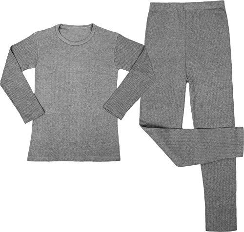 Kinder Thermo-Unterwäsche Set (Langärmligem Oberteil + Langer Unterhose) - Atmungaktiv, Wärmend und Kuschelig - ÖkoTex100 Farbe Grau Größe L/152-158