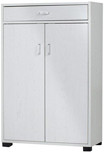 TrendyItalia 12964 Mobile Multiuso Rovere Sbiancato, Legno, Bianco, 63 x 33 x 95 cm