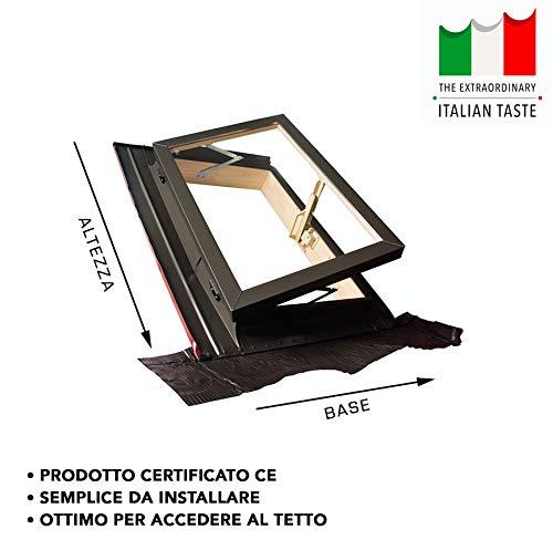 Lucernario/Finestra da tetto - Linea Best - apertura libro in alluminio (55x78 Base x Altezza)