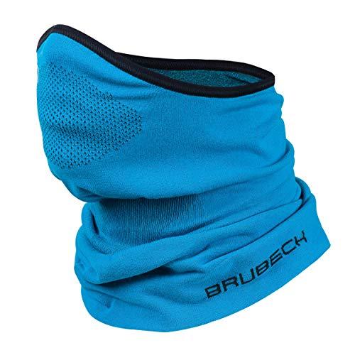 BRUBECK X-Pro Halbe Sturmhaube | Herren | Damen | Klimaregulierend | Gesichtsmaske | Sturmmaske | Funktionskleidung | Atmungsaktiv | Anti-allergisch | Antibakteriell (Blau, S - M)