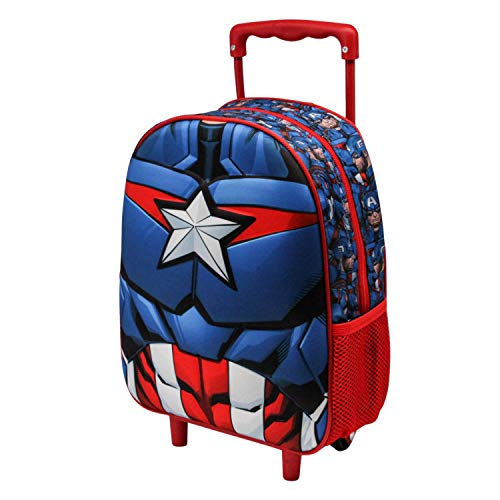 Karactermania Capitán América Civil War - Mochila 3D con Ruedas (Pequeña), Negro