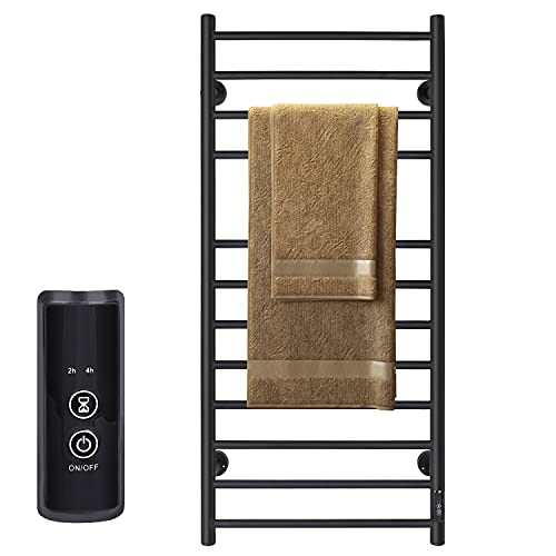 JSLOVE Towel Warmer Wall Mounted Heated Towel Racks for Bathroom, Stainless Steel Hot Towel Rack with Timer (12 Bars Matte Black)