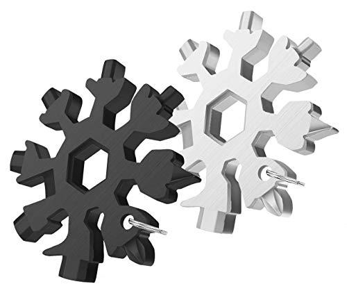 18 in 1 Schneeflocken Multitool mit Schlüsselring, 2 Stück Edelstahl Multifunktionswerkzeug, Outdoor Reise Camping Multifunktions-Werkzeug, Praktische Geschenk für Papa, Mann, Frauen