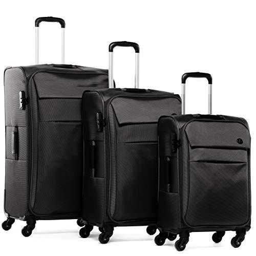 FERGÉ set di 3 valigie viaggio Calais - bagaglio morbido leggera 3 pezzi valigetta 4 ruote girevole nero