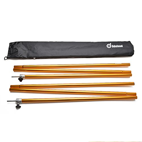 Odoland Adjustable Tarp Poles, Telescoping Aluminum Tarp and Tent Poles, Collapsible Lightweight Poles for Camping, Backpacking, Hammocks, Shelters, and Awnings