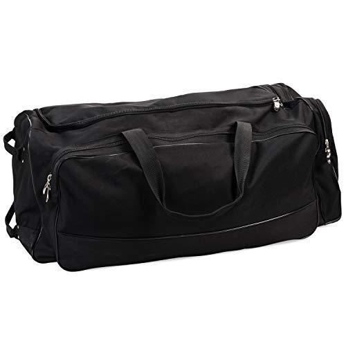 Champion Sports Wheeled Equipment Bag: Large Nylon Athletic Travel Bag with Wheels for Baseball, Football, Basketball, Soccer, Hockey, and Training , Black