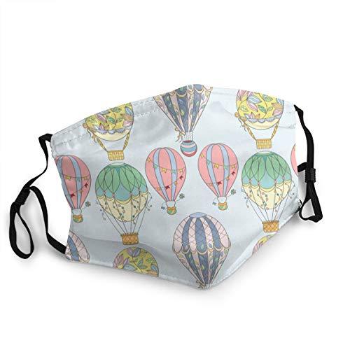 Waschbarer Mundschutz Anti-Staub-Gesichtsschutz,Hand gezeichnete Luftballon-Skizzenelemente der Luftballons des Cartoons,Wiederverwendbar winddicht für Outdoor-Ski Radfahren Camping Laufen
