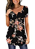 Mystry Zone Basic Tees for Women Embroidered Formal Career T-Shirt Pullover Tunic Blouse Black Large