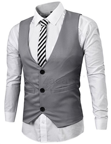 Blansdi Herren Jugendlich Jungen Weste Anzugweste Anzug-Weste Casual Business stilvoll feierlich Eng Geschnittenes 3 Kn?pfen tiefer V-Ausschnitt Vest Weste