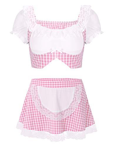 TiaoBug Damen Dienstmädchen Kostüm Crop Top Bluse Kariert Schotten Mini Rock mit Spitzen Schürze Cosplay Sexy Dessous Set Rosa Small