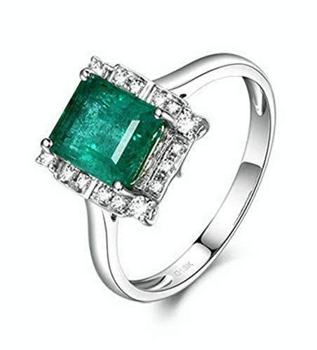 Aeici Anillos Oro blanco 18k, Anillo Oro De Compromiso Mujer Esmeralda Diamante 1.8ct, Cuadrado, Talla 23,5