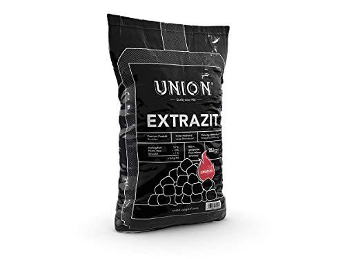 25kg Union Extrazit Premium Steinkohle Kohle Briketts Kissenbriketts Nusskohle Gluthalter Eierbriketts