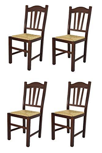 Tommychairs - Set 4 sedie modello Silvana per cucina bar e sala da pranzo, robusta struttura in legno di faggio color noce scuro e seduta in paglia