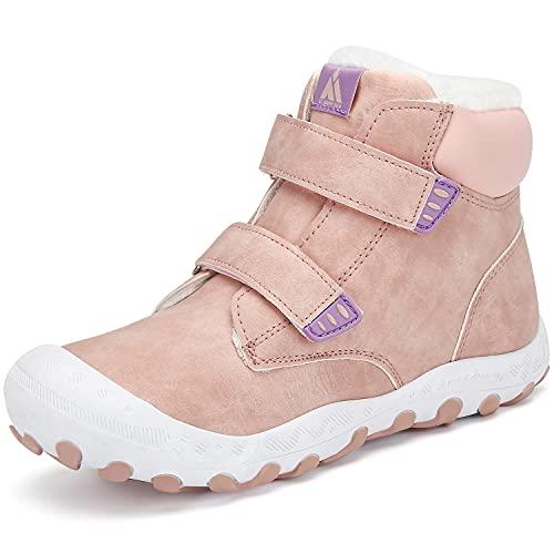 Winterschuhe Jungen Winterstiefel Kinder Warm Gefüttert Schneestiefel Outdoor rutschfeste Stiefel Mädchen Unisex Pink B 37 EU