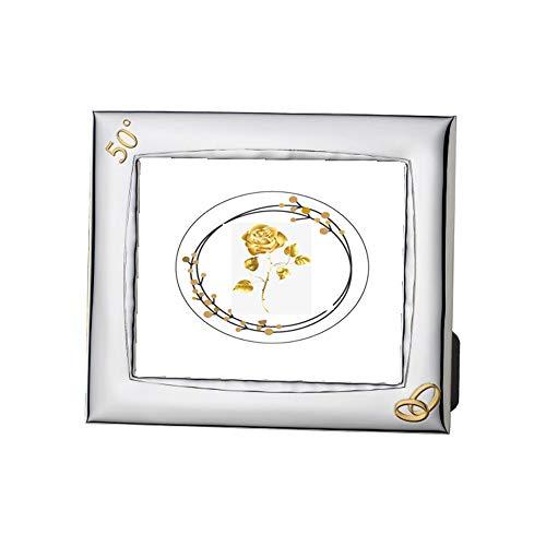 DOCOLASTRA Marco de fotografías en Plata bilaminada Horizontal y Vertical para Aniversario de Bodas de Oro (50 años).Personalizable-