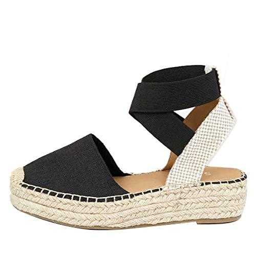 Womens Ankle Elastic Strap Espadrille Platform Sandal Low Flat Closed Toe Slides Shoe (Black,43 EU=12.5 M US)