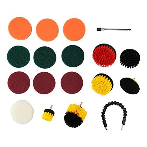 Ladieshow - Juego de cepillos de taladro de 19 piezas, juego de cepillos de taladro, juego de limpieza de depurador eléctrico, juego de almohadillas de pulido, herramientas de limpieza para suministro