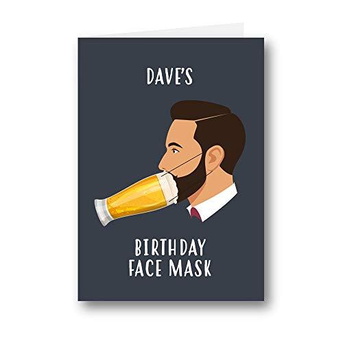 Tarjeta personalizada de cumpleaños cerveza máscara cubierta divertida broma feliz pub pinta 823