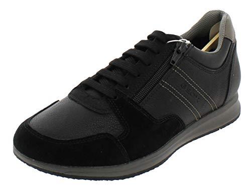 Geox Hombre Zapatos con Cordones Avery,Deportivos,Calzado,con Cordones,para Exterior,Derby cordón,Deportivo,Removable Insole,Black/Stone,42 EU/8 UK