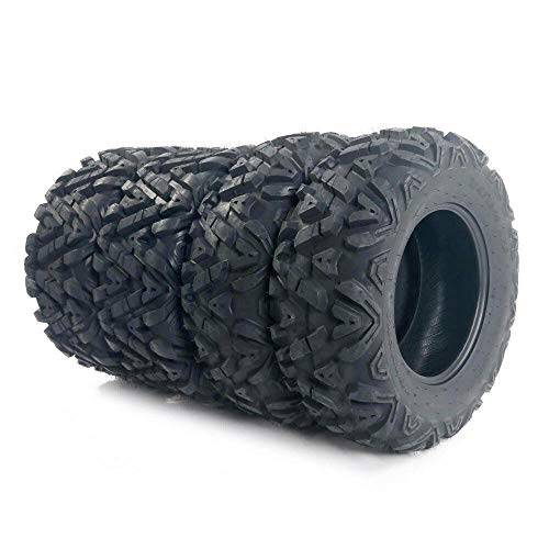 TRIBLE SIX Set of 4 All Terrain ATV UTV Tires ST25x8-12 Front ST25x10-12 Rear 6-PR Tubeless Deep Mud and Durable