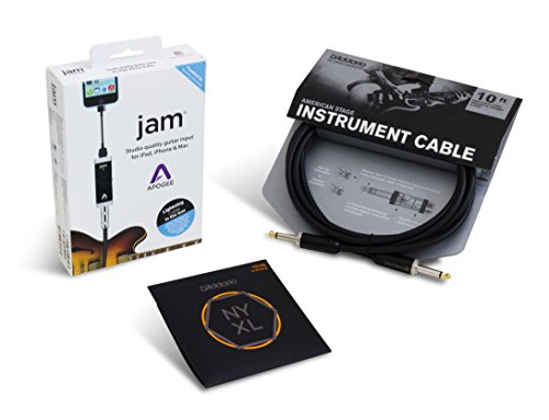 Apogee JAM Electric Guitar Accessory Bundle with D'Addario NYXL Light Strings and American Stage Cable