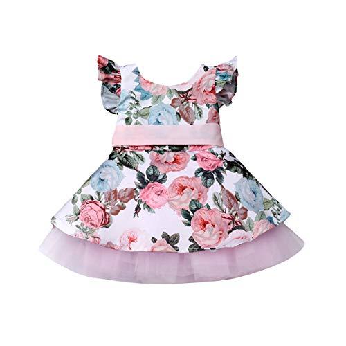 Bebé Niñas Pequeñas Vestido Floral de Manga Corta para Recién Nacida Vestidos de Tutú de Princesa Ropa Verano para Bautizo Fiesta Boda