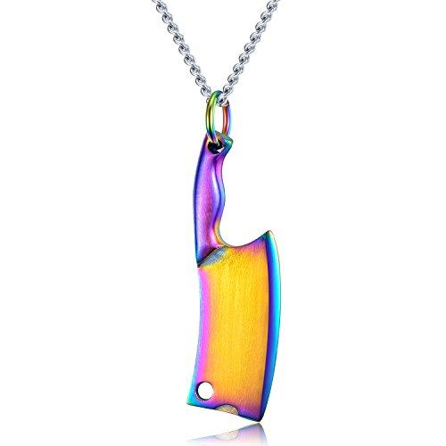 YCLOTH Halskette der Art- und Weisemänner, Titanstahlfarben-hängender kreativer Küchenmesser-Anhänger, Schmucksache-Großverkauf, vollkommenes Geschenk für Liebhaber-Ehemann-B
