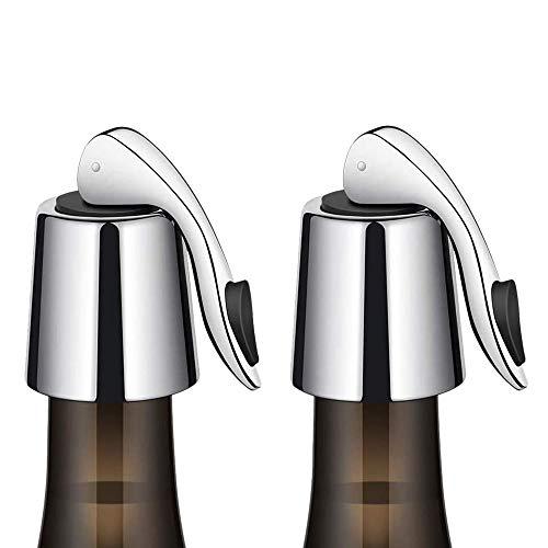 Haudang - Tapón para botella de vino (2 unidades, acero inoxidable, reutilizable, acero inoxidable)