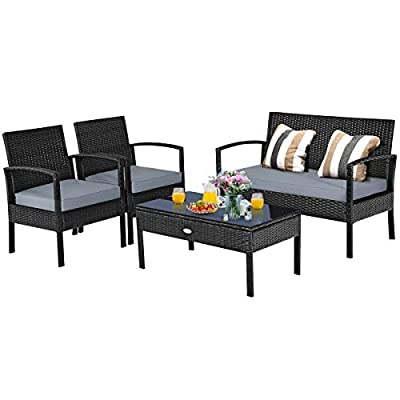 Tangkula 4-PCS Wicker Patio Conversation Furniture Set, Outdoor Rattan Chair and Table Set, Patio Furniture Sets with Coffee Table & Washable Cushions for Courtyard Balcony Garden (1, Black)