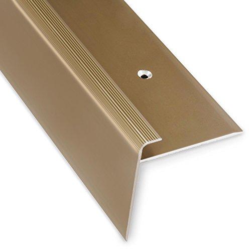 Treppenkantenprofil Safety | bronze hell | F-Form | 53mm Höhe mit einer Einfasshöhe von 7-8mm | Erhältlich in 4 Farben und 3 Längen (134cm)