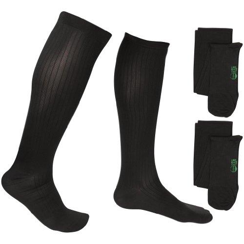 EvoNation - Calcetines de compresión para hombre (2 pares, 8-15 mmHg), L, Negro, 2