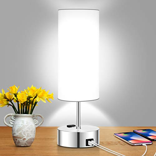 Touch Control Table Lamp Daylight White, 3 Way Dimmable Bedside Lamp with 2 Fast Charging USB Ports...