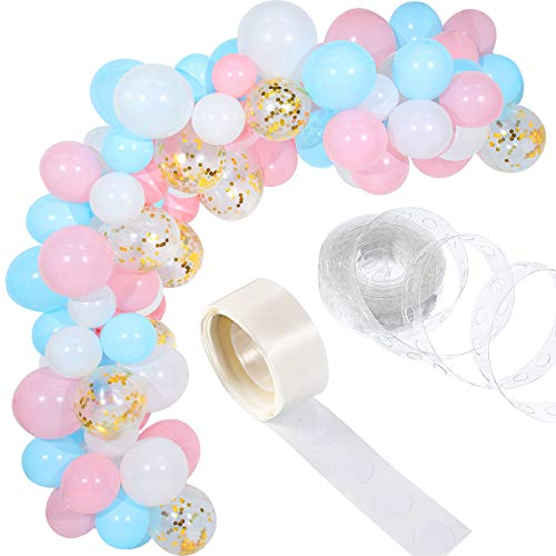 Tatuo 112 Pieces Balloon Garland Kit Balloon Arch Garland for Wedding Birthday Party Decorations (Baby Pink Blue)