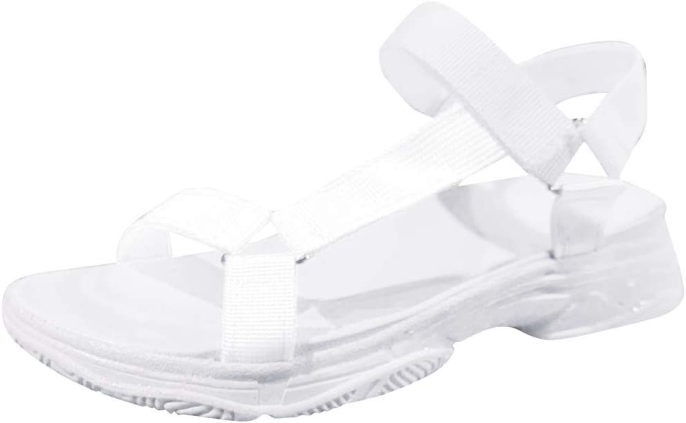 RQWEIN Women's Wide Width Flat Sandals Comfortable Open Toe Ankle Strap Dress Shoes Casual Flatform Platform Wedge Sandals(White,5.5)