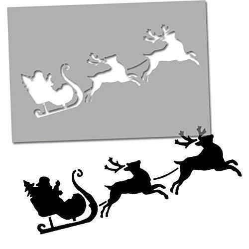 Weihnachtsmann Schlitten & Rentier Schablone Weihnachten Kunst Handwerk Schablone - Dekorieren & Malen heimwerkerutensilien - Wiederverwendbar - Farbe Wände, Stoff, Möbel