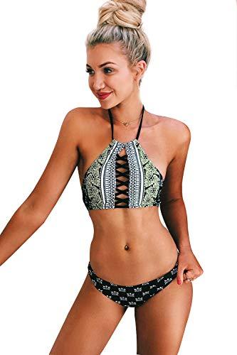 Cupshe Fashion Women's Black Lace Up Halter Padding Bikini Set (M), Black