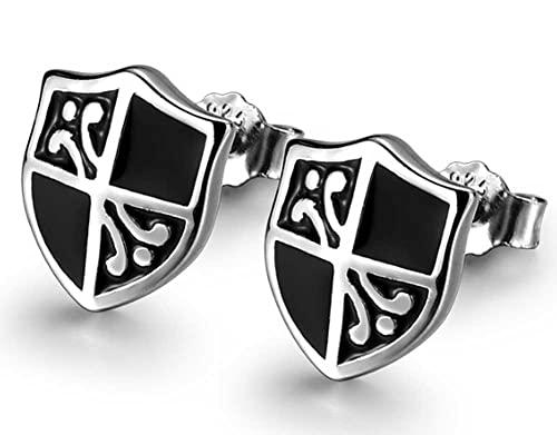 Pendientes de plata de ley 925 Retro hombres personalidad fría estilo calle joyería pendientes para novio 2 unids